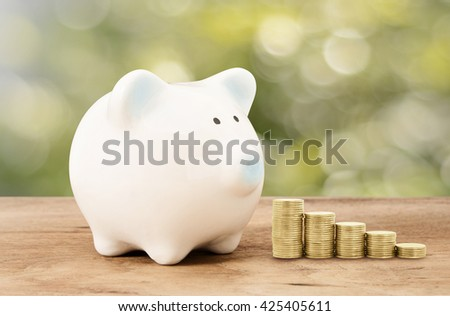 Piggy bank  and gold coin on wood floor with green bokeh background ,save,success business money education concept abstract background