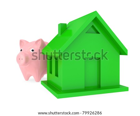 Piggy bank and green house. 3d rendered. Isolated on white background.