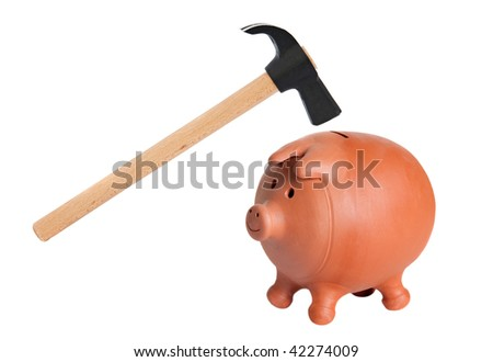 Piggy bank and hammer isolated on white - stock photo