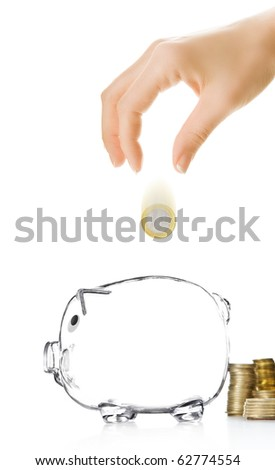 Piggy bank and hand with coin - stock photo