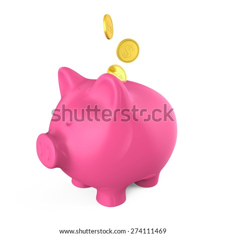 Piggy Bank and Money Coin - stock photo