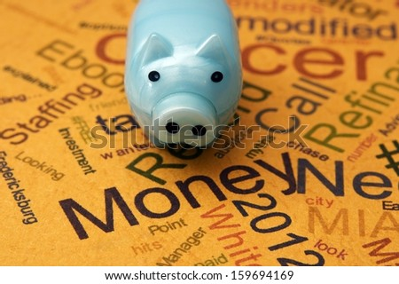 Piggy bank and money concept - stock photo