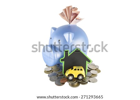 Piggy bank and money ideas for saving on white background with clipping paths. - stock photo