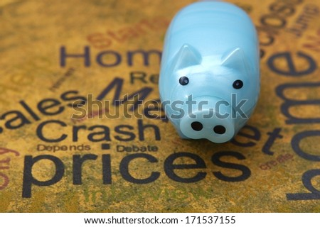 Piggy bank and prices concept - stock photo