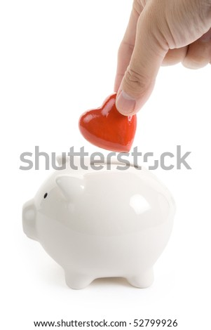 Piggy Bank and Red Heart, Concept of love, Charity and Relief Work