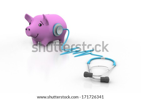 Piggy Bank and Stethoscope - stock photo