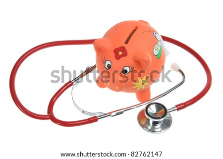 Piggy Bank and Stethoscope on White Background - stock photo