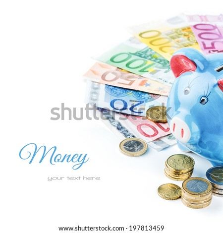Piggy bank and various money isolated over white - stock photo