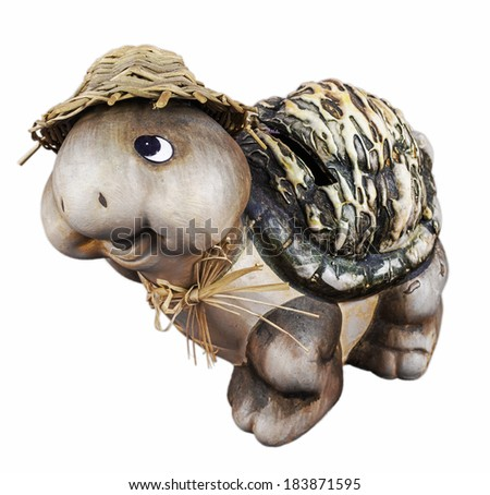 Piggy bank as turtle model isolated on white background - stock photo