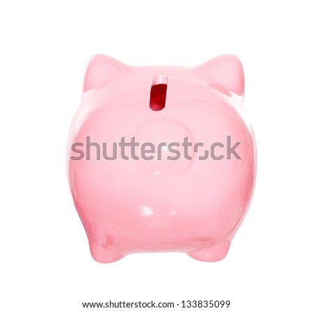 Piggy bank back view style money box isolated on a white studio background
