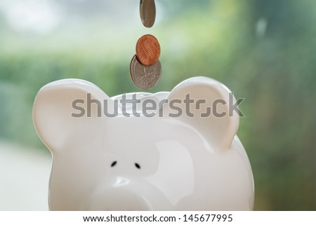 Piggy bank being loaded. Piggy Bank, and Coins. - stock photo