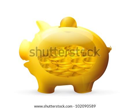 Piggy bank, bitmap copy - stock photo