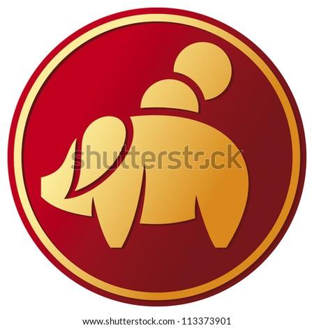 piggy bank button (pig bank button, piggy bank Icon) - stock photo