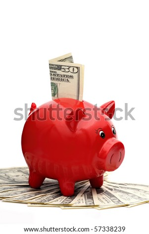 Piggy bank (clipping path included) - stock photo