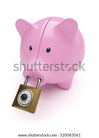 Piggy-bank closed on code lock concept isolated on white background
