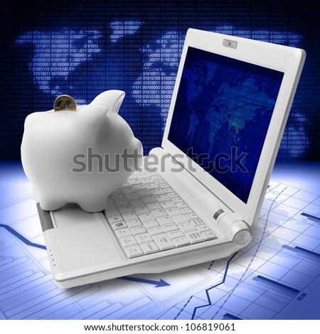 piggy bank, coin and computer in stock market analysis - stock photo