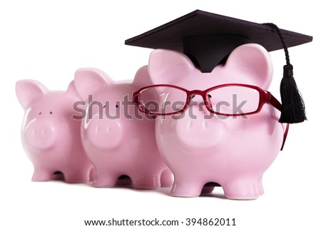 Piggy bank college student graduate graduation concept, teaching, graduating, piggy bank with glasses