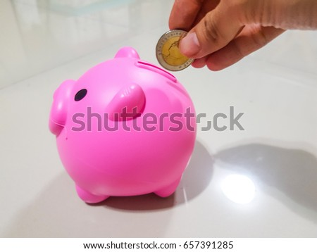 Piggy bank color pink for saving money