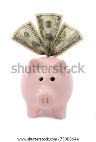 piggy bank cutout with three hundred dollar bills - stock photo