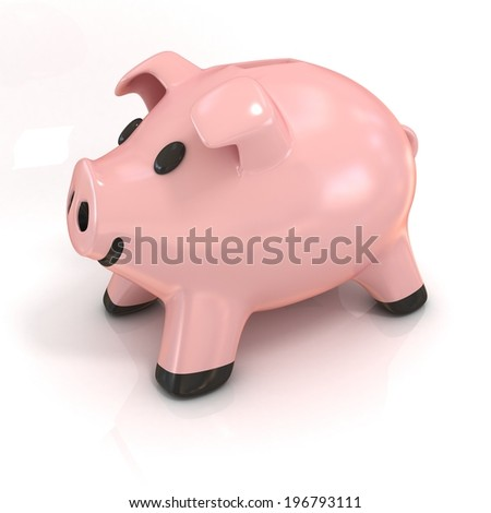 Piggy bank 3d isolated on white background