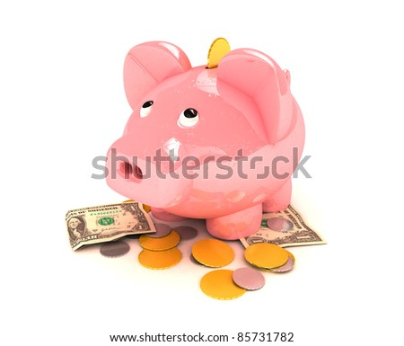 Piggy bank 3D rendered isolated