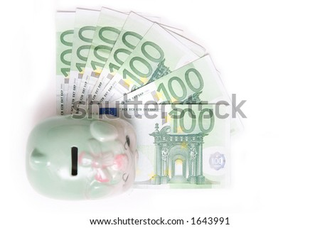 Piggy bank, euro banknotes - stock photo
