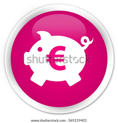 Piggy bank (euro sign) icon pink glossy round button - stock photo