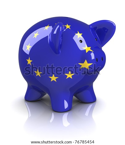 Piggy Bank -European Union (Isolated)