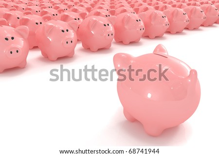 Piggy bank facing hundreds of other piggy banks