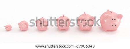 Piggy bank family going from the smallest to the biggest - stock photo