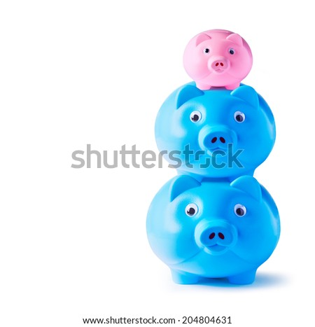 Piggy bank family on white background  - stock photo