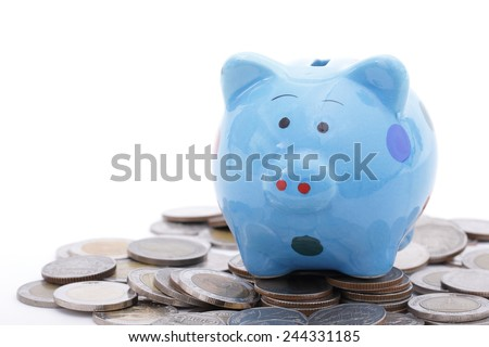 Piggy bank finance growing with white background. - stock photo