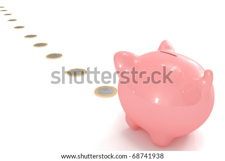 Piggy bank following a coin path - stock photo