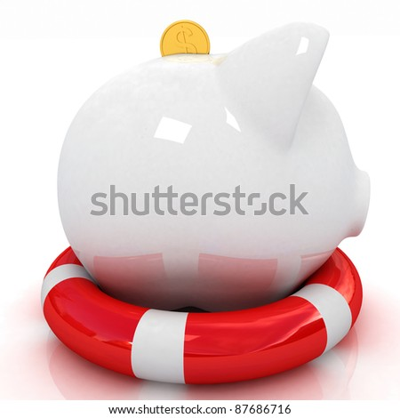 piggy bank for lifebuoy.concept of savings protection - stock photo