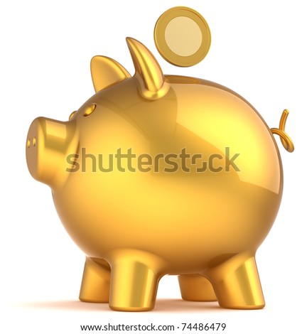 Piggy bank golden classic with coin over it. Money donate payment banking savings wealth earning concept. This is a detailed three-dimensional render 3d (Hi-Res). Isolated on white background - stock photo