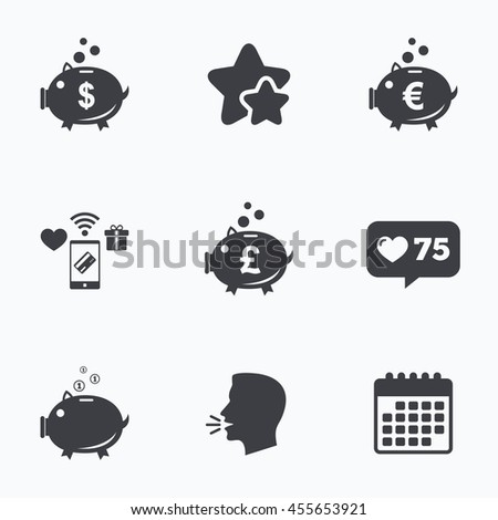 Piggy bank icons. Dollar, Euro and Pound moneybox signs. Cash coin money symbols. Flat talking head, calendar icons. Stars, like counter icons.  - stock photo