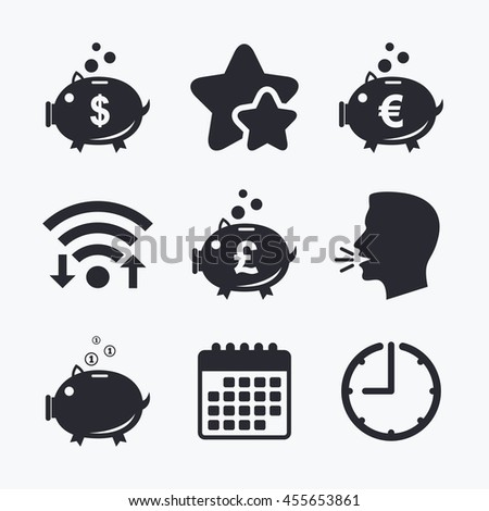 Piggy bank icons. Dollar, Euro and Pound moneybox signs. Cash coin money symbols. Wifi internet, favorite stars, calendar and clock. Talking head.  - stock photo
