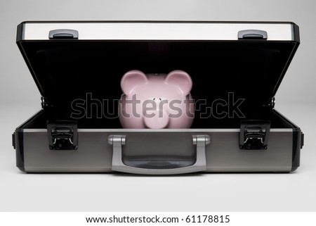 Piggy bank in a briefcase - stock photo