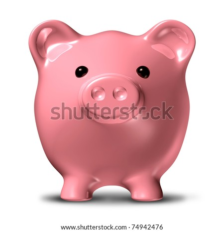Piggy bank in a front view representing the concept of long term savings and financial planning of investments.