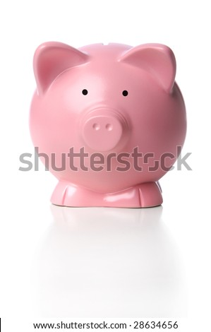 Piggy Bank in frontal view over white background
