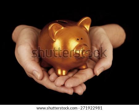 Piggy Bank in hands - stock photo