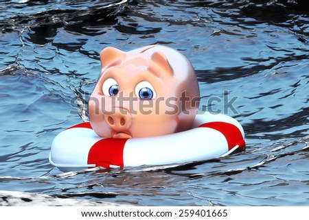 Piggy bank in the water - stock photo