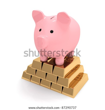 Piggy bank is standing on gold ingots - stock photo