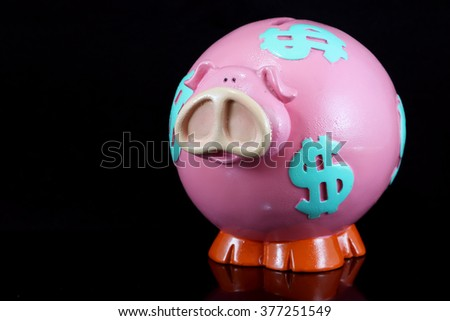 Piggy bank isolated on a black background
