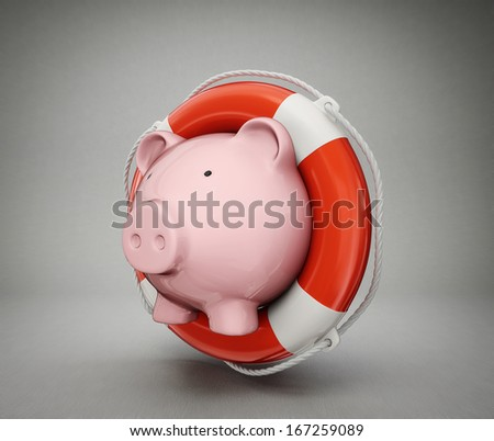 piggy bank isolated on a  grey  background - stock photo