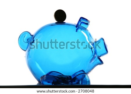 Piggy Bank - Isolated on White - stock photo