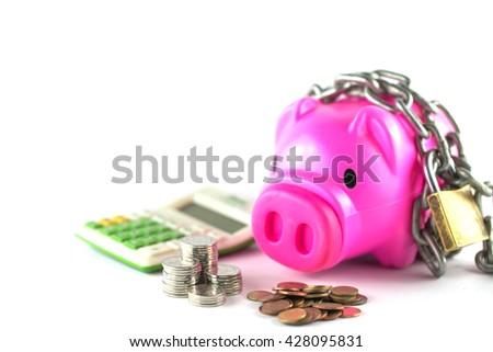 Piggy bank isolated on white background - stock photo