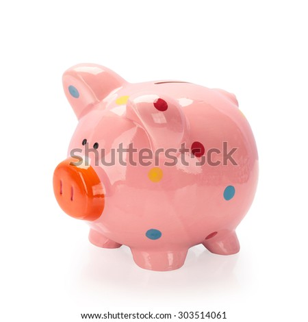 Piggy bank  isolated on white background. This has clipping path.  - stock photo