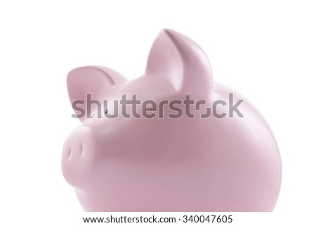 Piggy bank isolated on white background with clipping path - stock photo