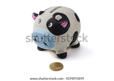 Piggy bank isolated on white background with shadow